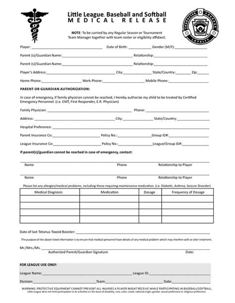 free printable medical release forms printable child