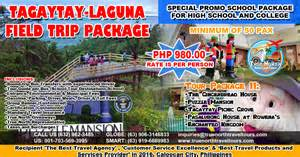 World Tour Package Tagaytay Laguna Field Trip Package True Travel And