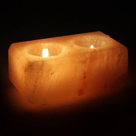 salt l candle holder himalayan salt double tealight candle holder rectangular