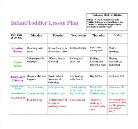 printable infant toddler lesson plans lesson plan template 60 free word excel pdf format