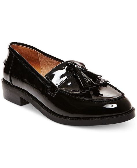 womens black loafers steve madden s meela lug tassel loafer in black lyst