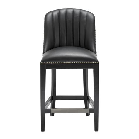 Black Faux Leather Counter Stools by Balmore Black Faux Leather Counter Stool Shop Now