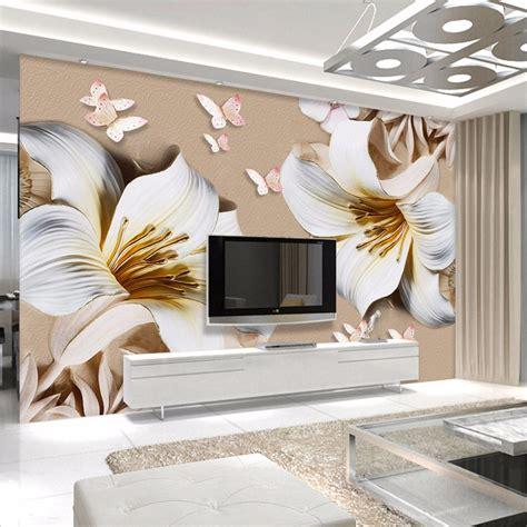 3d butterflies wall sticker living room bedroom background custom mural wallpaper 3d stereo embossed lily living room