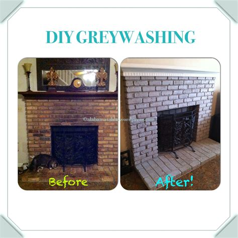 Whitewash Interior Walls Diy Tutorial Fireplace Brick Greywashing Alabama Table