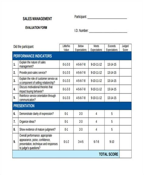8 Sales Evaluation Form Sles Free Sle Exle Format Download Salesperson Evaluation Template