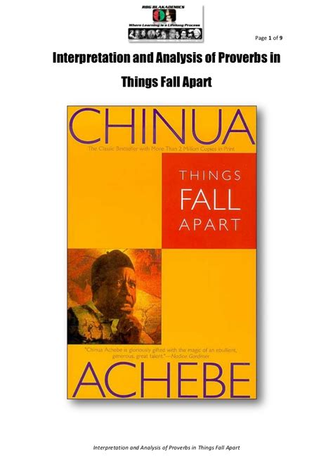 themes and exles in things fall apart interpretation and analysis of proverbs in things fall apart