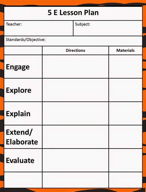 Model Lesson Plan Template of the jungle the 5e model our new lesson plans