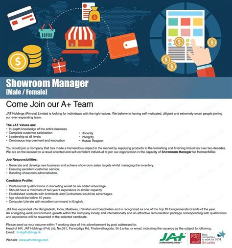 showroom sales assistant jobs vacancies in sri lanka top showroom manager jobs in sri lanka job vacancies in