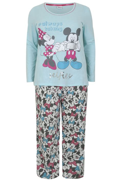 Piyama Minie Mouse White turquoise mickey minnie mouse selfie disney pyjama set