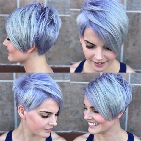 pixie crop with asymmetrical side swept bangs women s silver asymmetrical pixie with side swept bangs