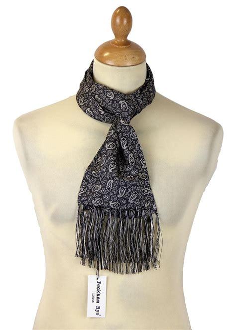 peckham rye retro 60s mod paisley silk scarf black ground