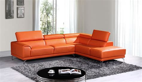Modern Orange Sofa by Divani Casa Wisteria Modern Orange Leather Sectional Sofa