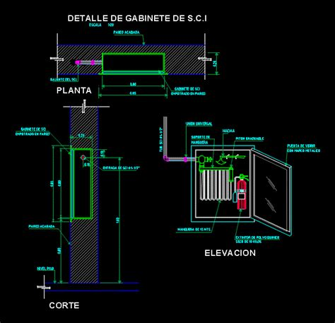 cabinet detail fire system dwg detail  autocad