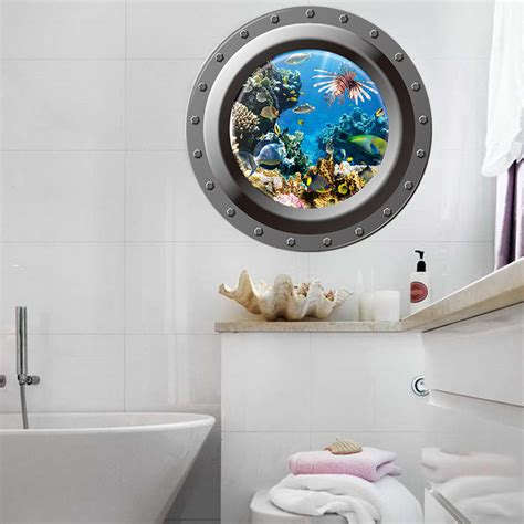 home decor sticker 3d fish window view removable wall sticker decal