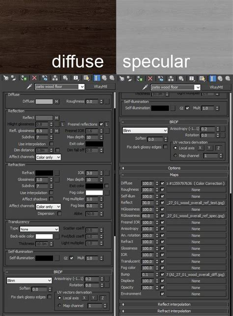 Wood Floor   Vray rendering & materials settings
