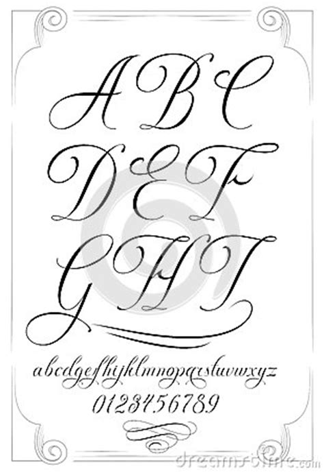 numero lettere alfabeto alfabeto di calligrafia con i numeri illustrazione