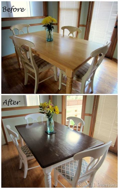 diy dining room chair makeover dining table makeover before and after top with