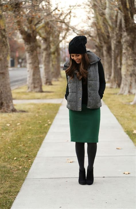 vest pencil skirt tights black ankle boots a tight