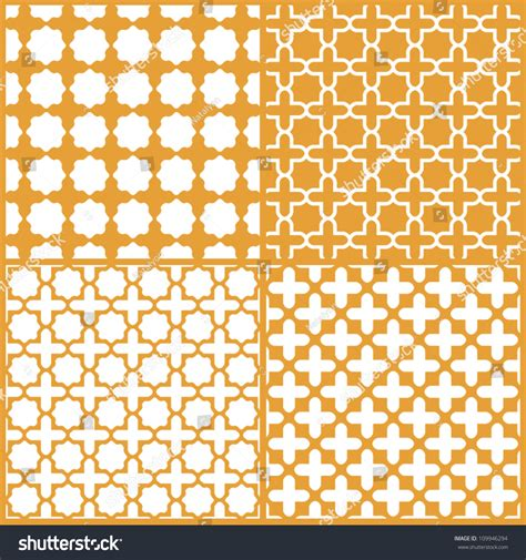 seamless moroccan pattern moroccan lattice seamless patterns set vector stock vector