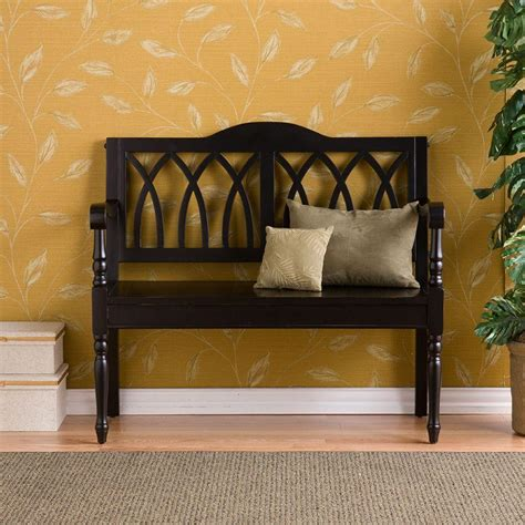 foyer bench southern enterprises alpine antique black storage bench