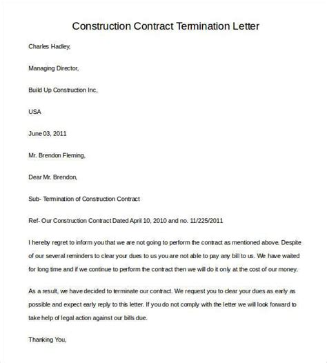 Contract Cancellation Letter contract termination letter template 20 free sle exle format free premium templates
