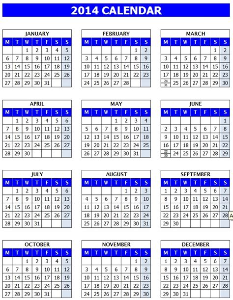 2014 yearly calendar template excel 2014 calendar templates microsoft and open office templates