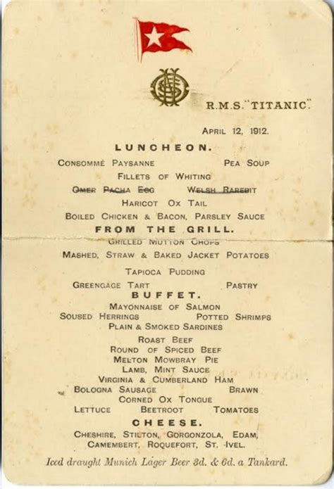 titanic menu titanic first class menu realises 97 000 at henry