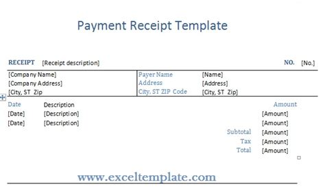 Decimal Receipt Project Template by Get Payment Receipt Template Exceltemple Excel Project