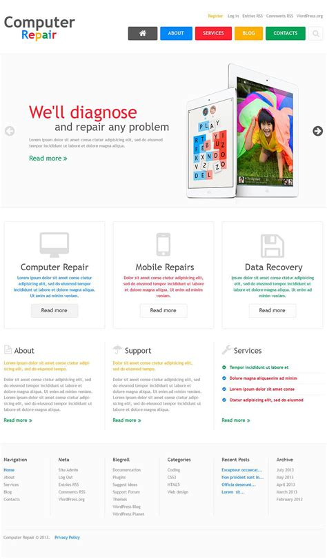 themes wordpress free computer computer repair company wordpress theme 45175