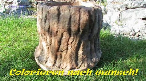 gartendeko pflanzkuebel als baumstumpf aus beton selber