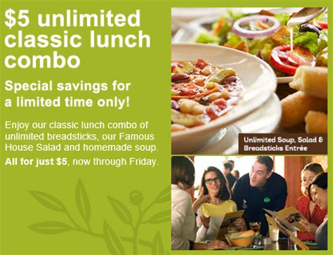 olive garden 7 dollar lunch unlimited soup salad and breadsticks only 5 at olive garden ship saves