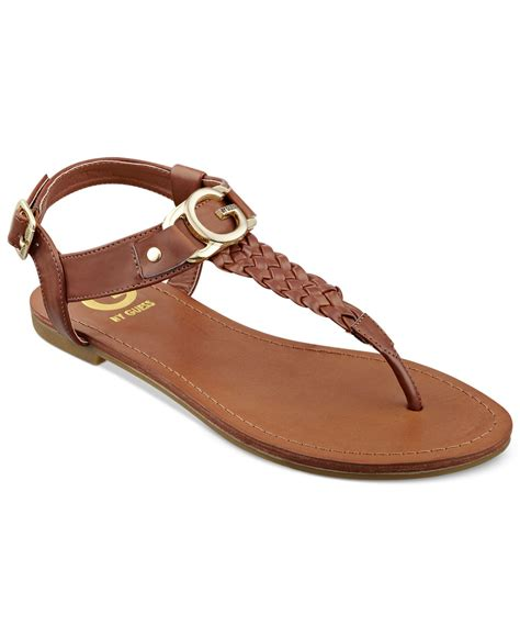 sandals guess lyst g by guess s lyrikk flat sandals in brown