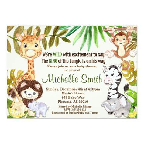 Jungle Baby Shower Invitation Safari Invitation Zazzle Com Jungle Animal Invitation Templates
