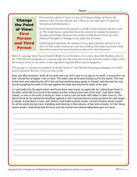 Point Of View Worksheet by Change The Point Of View Worksheet 1st And 3rd Person
