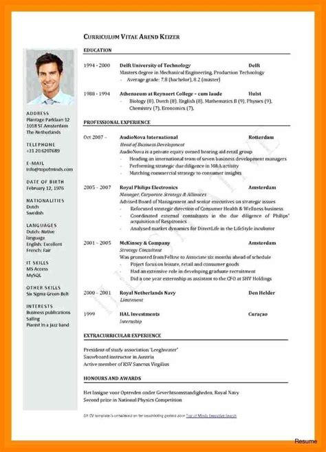 resume with photo format doc cv international format international cv template sle doc resume format word