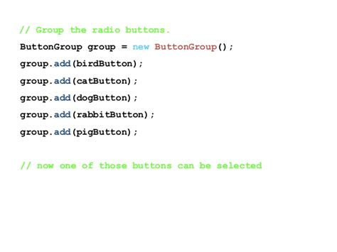 jradiobutton group exle in java swing java swing