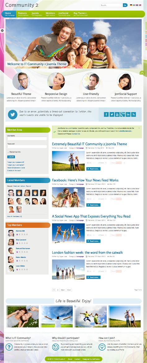 template joomla community it community 2 joomla template jomsocial integration