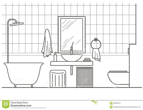 sketch of bathroom architectural sketch bathroom interior front view linear