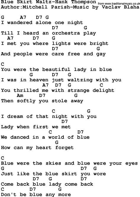 country blue skirt waltz hank thompson lyrics and