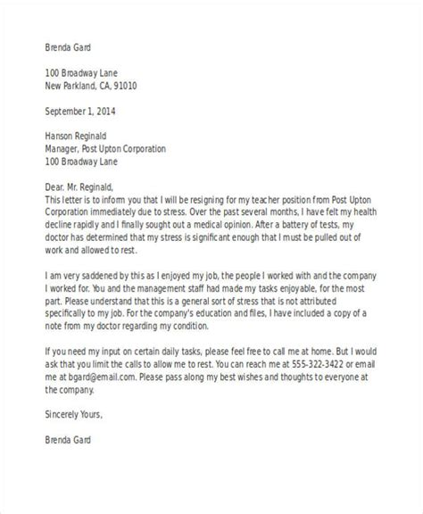 Resignation Letter Due To Anxiety teaching resignation letter resume exles templates