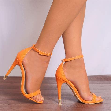 orange sandal heels womens orange barely threre strappy sandals high