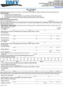 free nevada motor vehicle bill of sale form pdf 1 page s