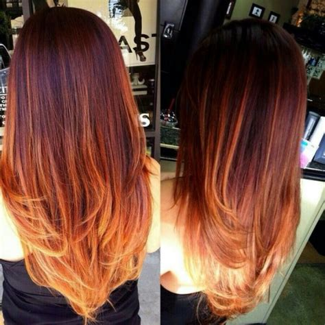 red ombre hair brown and red hair ombre