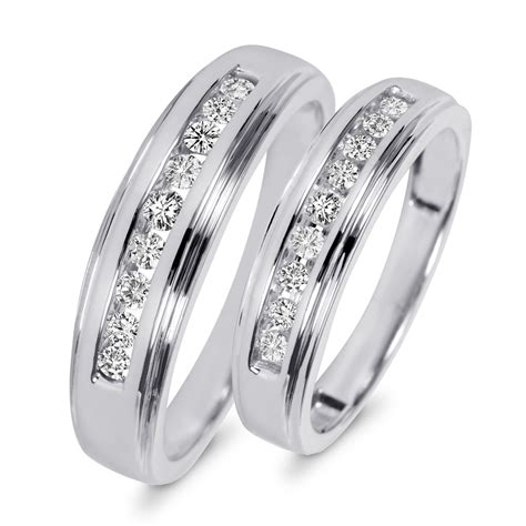 wedding ring sets his and hers white gold 3 8 carat t w his and hers wedding band set 10k