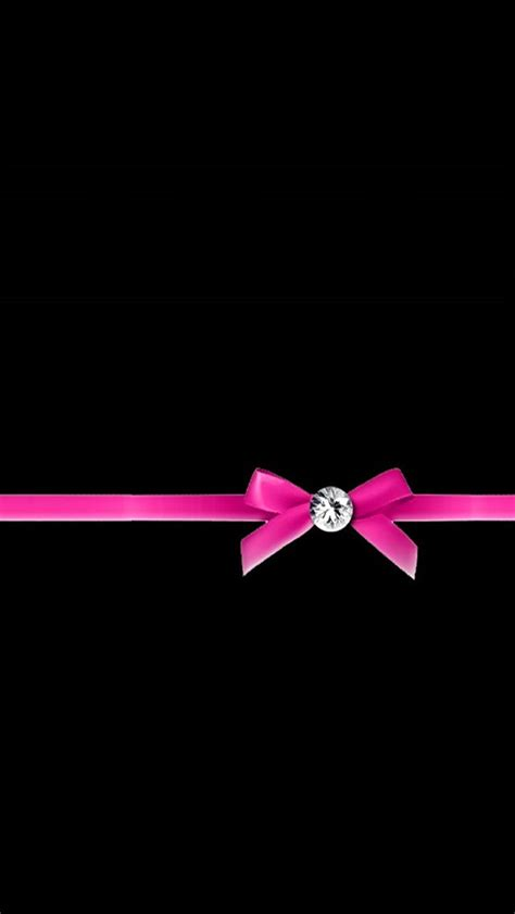 Wallpaper Pink Bow | diamond with pink ribbon bow wallpaper free iphone