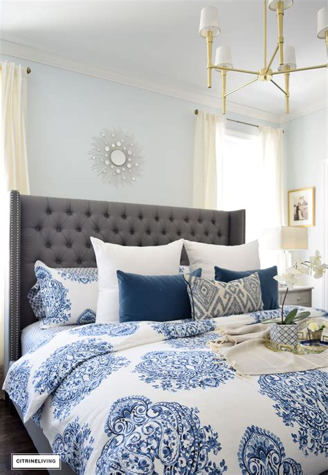 grey blue and white bedroom citrineliving spring in full swing home tour 2017