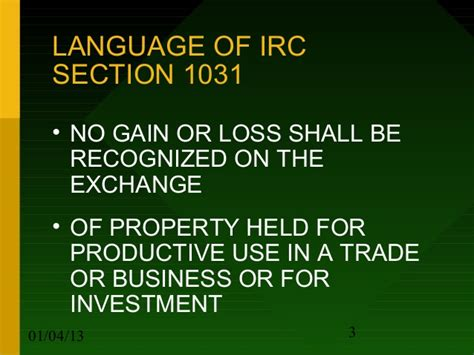 internal revenue code section 1031 1031 exchange
