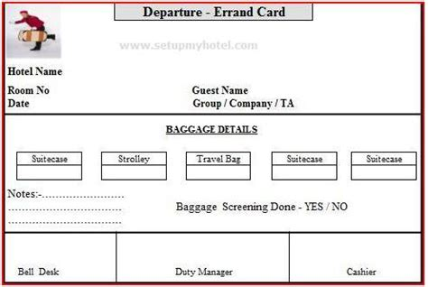 Housekeeping Tips by Bell Desk Errand Card Arrival And Departure Errand Card