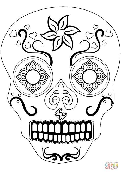 Sugar Skulls Coloring Pages by Sugar Skull Coloring Page Free Printable Coloring Pages
