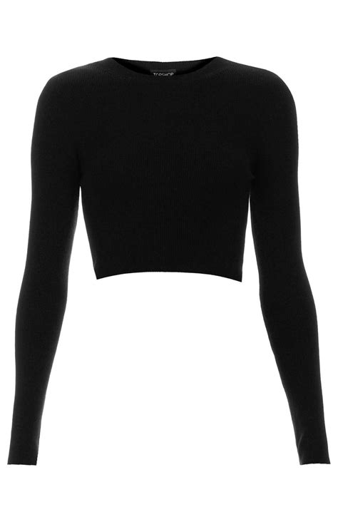 Turtle Neck Hnm Lace Crop Top topshop rib crop top in black lyst